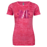 Next Level Ladies Junior Fit Fuchsia Burnout Tee-M Marshall