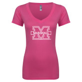 Next Level Ladies Junior Fit Deep V Pink Tee-M Marshall
