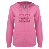 ENZA Ladies Hot Pink V Notch Raw Edge Fleece Hoodie-M-Marshall Glitter