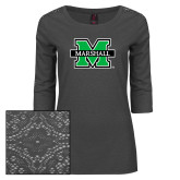 Ladies Charcoal Heather Tri Blend Lace 3/4 Sleeve Tee-M Marshall