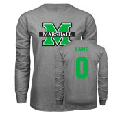 Grey Long Sleeve T Shirt-M Marshall, Custom Tee w/ Name and #