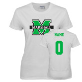 Ladies White T Shirt-M Marshall, Custom Tee w/ Name and #