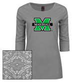 Ladies Grey Heather Tri Blend Lace 3/4 Sleeve Tee-M Marshall