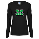 Ladies Black Long Sleeve V Neck T Shirt-M Marshall
