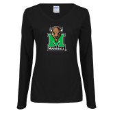 Ladies Black Long Sleeve V Neck Tee-Official Logo
