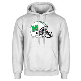 White Fleece Hoodie-Marshall Football Helmet