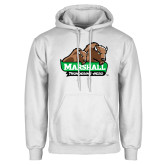 White Fleece Hoodie-Thundering Herd in Front of Herd