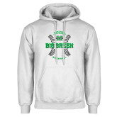 White Fleece Hoodie-Baseball Ball Design