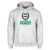 White Fleece Hoodie-Football Helmet Design