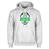 White Fleece Hoodie-Football Vertical Design