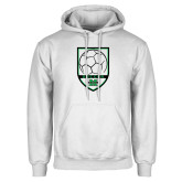 White Fleece Hoodie-Soccer Shield Design