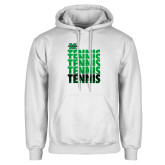 White Fleece Hoodie-Tennis Stacked Design