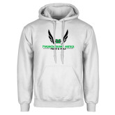 White Fleece Hoodie-Track and Field Wings Design