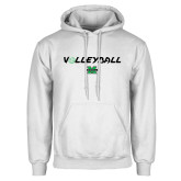 White Fleece Hood-Volleyball Ball Design