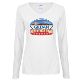 Ladies White Long Sleeve V Neck T Shirt-Gildan New Mexico Bowl - Official Logo