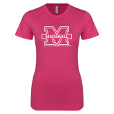 Ladies SoftStyle Junior Fitted Fuchsia Tee-M Marshall