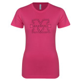 Ladies SoftStyle Junior Fitted Fuchsia Tee-M-Marshall Glitter