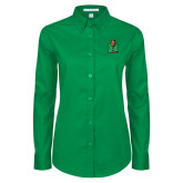 Ladies Kelly Green Twill Button Down Long Sleeve-Official Logo