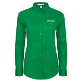 Ladies Kelly Green Twill Button Down Long Sleeve-The Herd