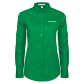 Ladies Kelly Green Twill Button Down Long Sleeve-Marshall Thundering Herd