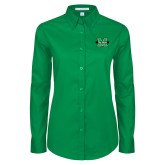Ladies Kelly Green Twill Button Down Long Sleeve-M The Herd