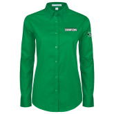 Ladies Kelly Green Twill Button Down Long Sleeve-Gildan New Mexico Bowl