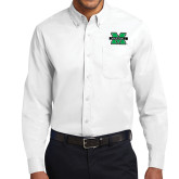 White Twill Button Down Long Sleeve-M Marshall