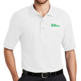 White Easycare Pique Polo-We Are Marshall