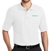 White Easycare Pique Polo-Marshall Thundering Herd