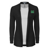 Ladies Black Open Front Cardigan-M Marshall