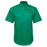 Kelly Green Twill Button Down Short Sleeve-Official Logo