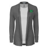 Ladies Heather Grey Open Front Cardigan-M Marshall