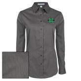Ladies Grey Tonal Pattern Long Sleeve Shirt-M Marshall