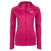 Ladies Tech Fleece Full Zip Hot Pink Hooded Jacket-M Marshall