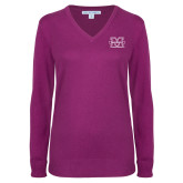 Ladies Deep Berry V Neck Sweater-M Marshall