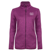 Dark Pink Heather Ladies Fleece Jacket-M Marshall
