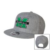 Heather Grey Wool Blend Flat Bill Snapback Hat-M Marshall
