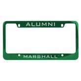 Alumni Metal Green License Plate Frame-Marshall Engraved