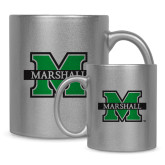 11oz Silver Metallic Ceramic Mug-M Marshall