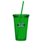 Madison Double Wall Green Tumbler w/Straw 16oz-M The Herd
