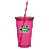Madison Double Wall Pink Tumbler w/Straw 16oz-M The Herd