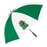 64 Inch Kelly Green/White Umbrella-Official Logo