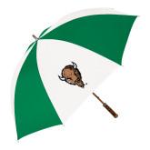 64 Inch Kelly Green/White Umbrella-Mascot Head