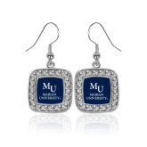 Crystal Studded Square Pendant Silver Dangle Earrings-Primary Mark Stacked