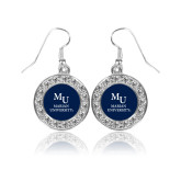 Crystal Studded Round Pendant Silver Dangle Earrings-Primary Mark Stacked