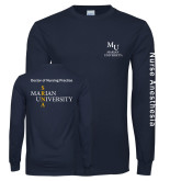 Navy Long Sleeve T Shirt-Primary Mark Stacked
