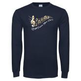 Navy Long Sleeve T Shirt-Knight Fusion Show Choir Music Bar