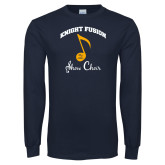 Navy Long Sleeve T Shirt-Knight Fusion Arched over Music Note