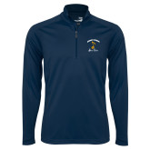 Syntrel Navy Interlock 1/4 Zip-Knight Fusion Arched over Music Note