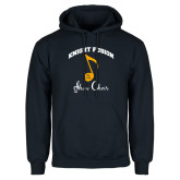Navy Fleece Hoodie-Knight Fusion Arched over Music Note